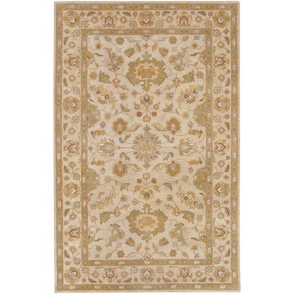 Hand-tufted Palmhurst Ivory Floral Border Wool Rug (2' x 3')
