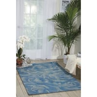 Nourison Hand-tufted Moda Light Blue Petal Rug  (3'6 x 5'6) - 3'6 x 5'6