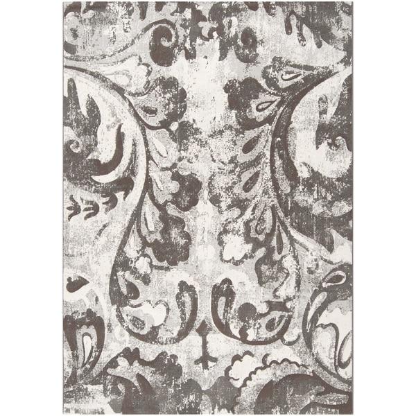 Parlier Grey Damask Print Area Rug - 2' x 3'