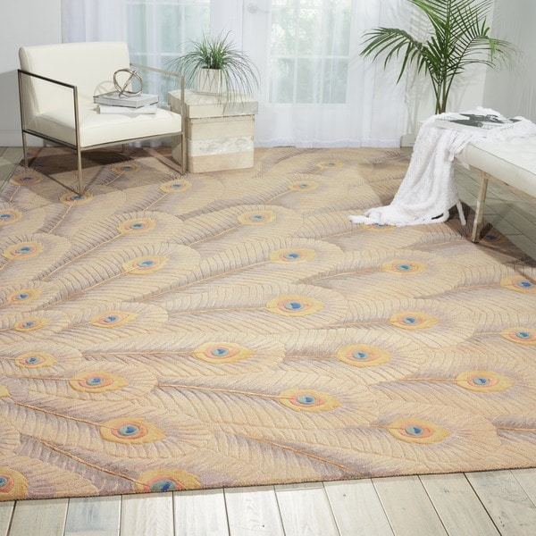 Nourison Hand-tufted Moda Ivory Peacock Rug - 5'6 x 7'5