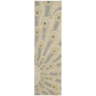 Nourison Hand-tufted Moda Ivory Peacock Rug (2'3 x 8')