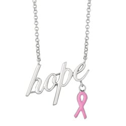 Sterling Silver Hope with Pink Ribbon Necklace