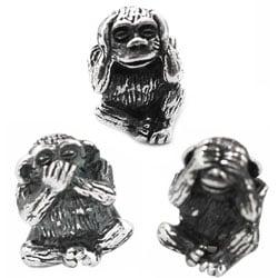 De Buman Sterling Silver 'Sanbiki no Saru' Monkey Charm Beads