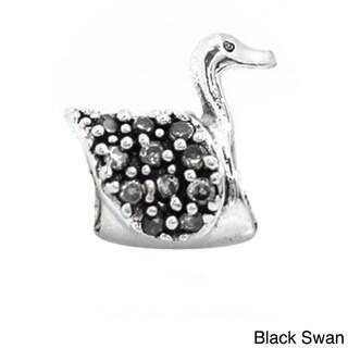 De Buman Sterling Silver Zircon Swan Charm Bead (Option: Black)