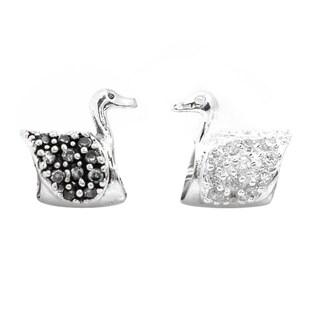 De Buman Sterling Silver Zircon Swan Charm Bead