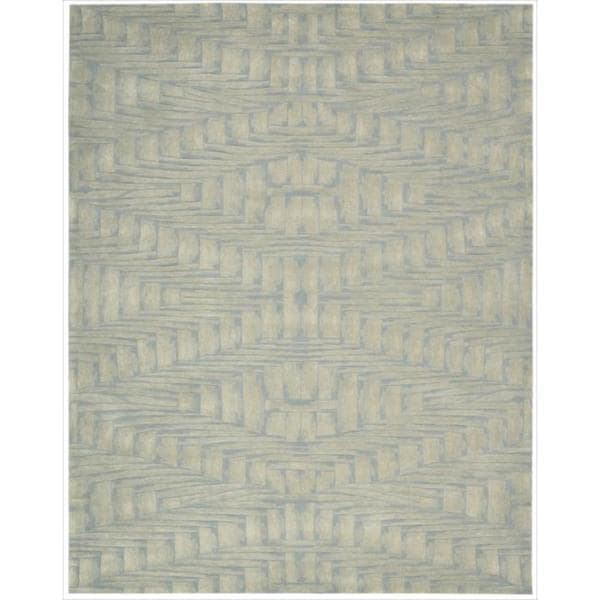 Nourison Hand-tufted Moda Ivory Light Blue Breeze Rug (8' x 11')