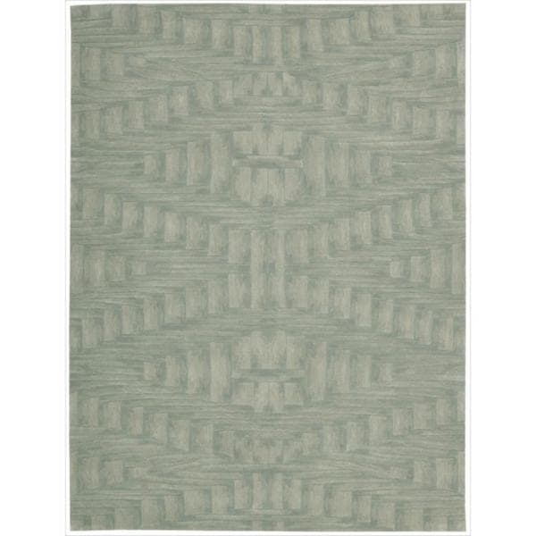 Nourison Hand-tufted Moda Ivory Light Blue Breeze Rug - 5'8 x 6'9