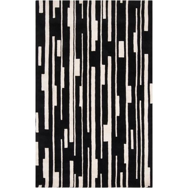 Hand-tufted Richards Black Geometric Wool Rug (2' x 3')