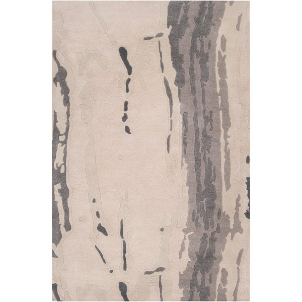 Hand-tufted Richland Grey Abstract Plush Wool Area Rug (2' x 3') - 2' x 3'