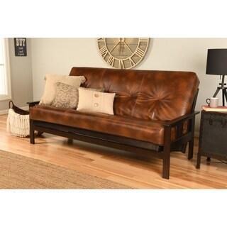 Porch & Den Zumbro Bonded Leather Espresso Futon Frame and Mattress