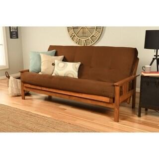 Somette Beli Mont Multi-flex Honey Oak Full-size Futon Frame and Innerspring Mattress Set