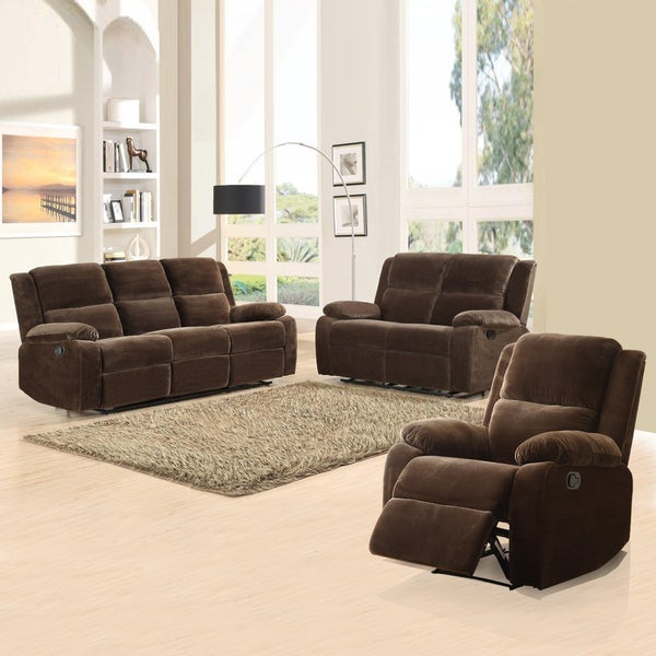 Angus Collection Coffee Microfiber 3-piece Living Room Set