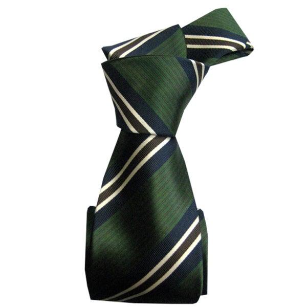Dmitry Men's Dark Green Striped Italian Silk Tie