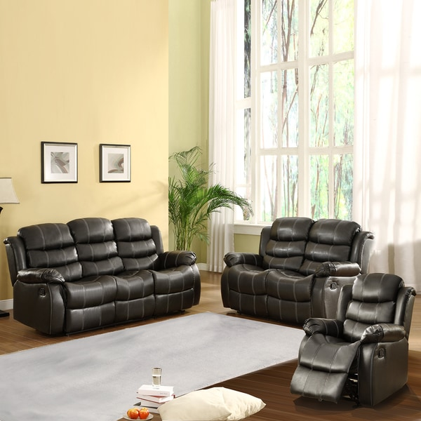 Buxton Collection Black Bonded Leather 3-piece Living Room Set