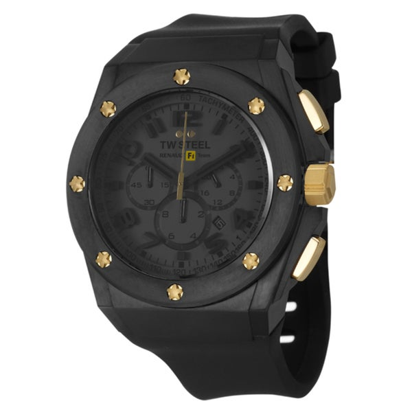 TW Steel Men's 'Renault F1 Team Pilot' Black Stainless Steel and Yellow Goldplated Quartz Watch with Arabic Numerals