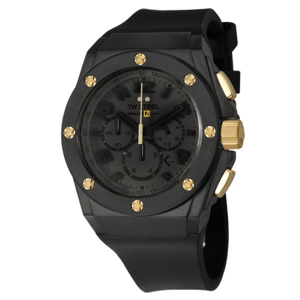 TW Steel Men's 'Renault F1 Team Pilot' Black Stainless Steel and Yellow Goldplated Quartz Watch