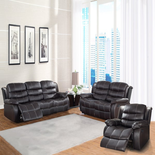 Buxton Collection Brown Bonded Leather 3-piece Living Room Set