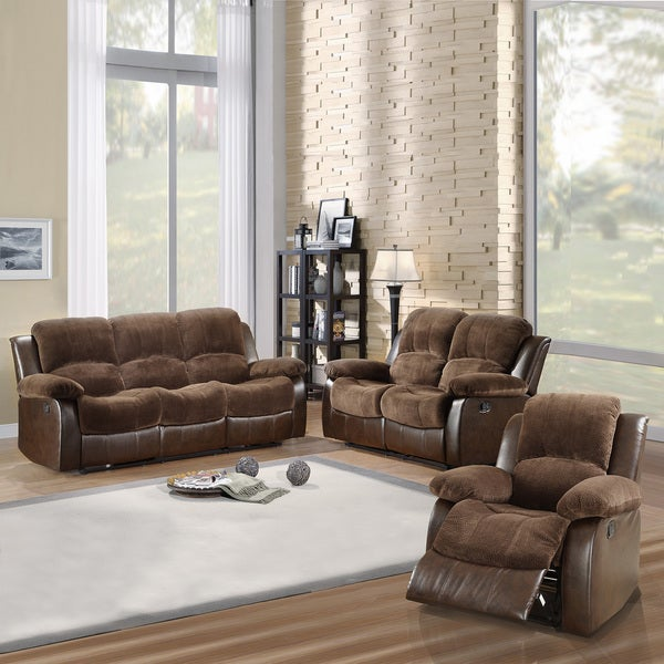 Tribecca home coleford collection dark brown microfiber for 3 piece living room set