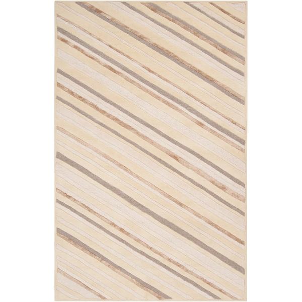 Hand-tufted Rivereno Beige Diagonal Stripes Wool Area Rug - 2' x 3'