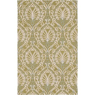 Candice Olson Hand-tufted Riviera Green Botanical Pattern Wool Area Rug - 2' x 3'