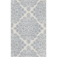 Hand-tufted Roanoke Beige Geometric Pattern Wool Area Rug - 2' x 3'