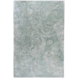 Hand-tufted Robert Grey Paisley Print Wool Rug (2' x 3')