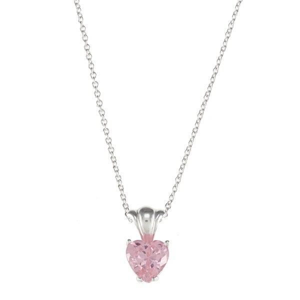 Disney Sterling Silver Pink CZ Princess Heart Pendant