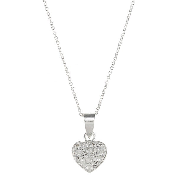 Disney Sterling Silver Clear Crystal Princess Heart Necklace