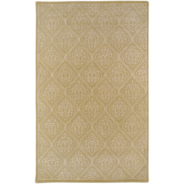 Hand-tufted Rocklin Green Geometric Wool Rug (2' x 3')