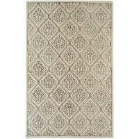 Hand-tufted Rockport Beige Geometric Wool Area Rug - 2' x 3'