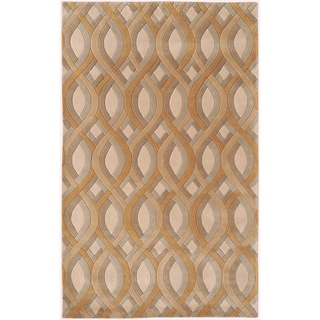 Hand-tufted Rogers Beige Geometric Plush Wool Rug (2' x 3')