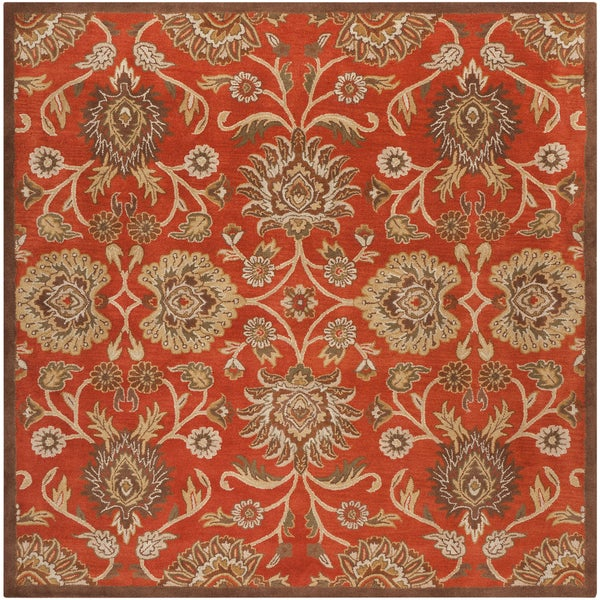 Hand Tufted Agra Red Gold Wool Rug 8 Round: Hand-tufted Rouchel Red Wool Area Rug (8' Square)