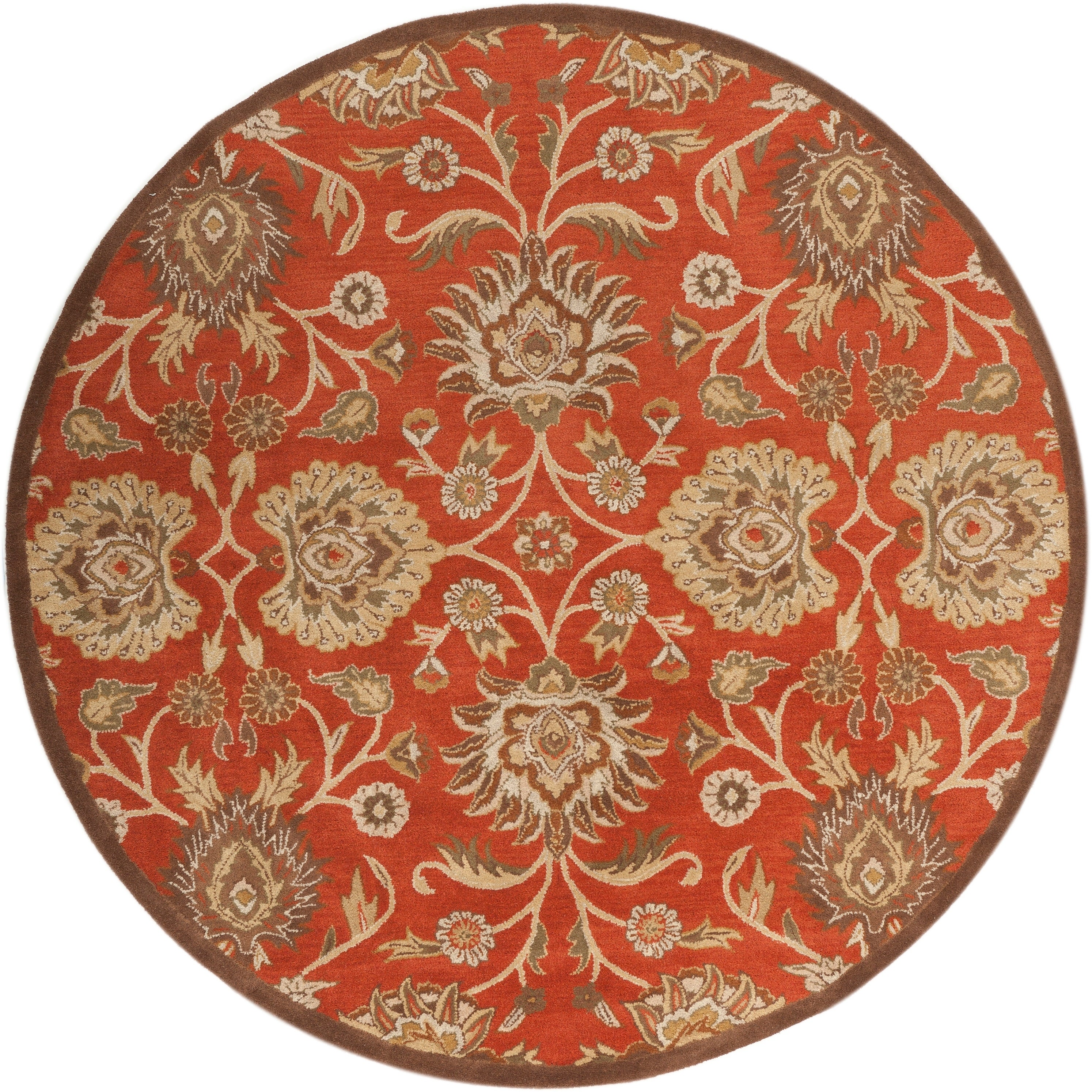 Hand Tufted Round Red Wool Area Rug 8 Round On Sale Overstock 7278740