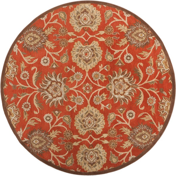 Hand Tufted Agra Red Gold Wool Rug 8 Round: Hand-tufted Round Red Wool Rug (8' Round)