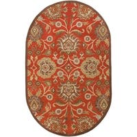 Hand-tufted Rowleys Red Wool Area Rug - 6' x 9'