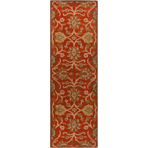 Hand-tufted Royal Red Wool Rug (3' x 12')