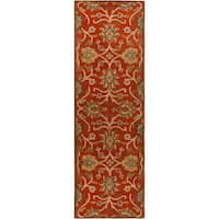 Hand-tufted Royal Red Wool Area Rug - 3' x 12'