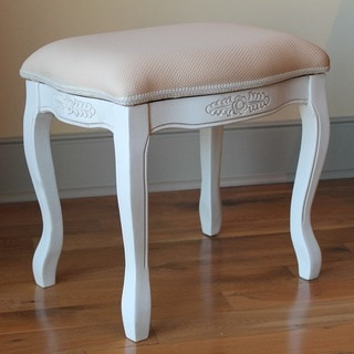 International Caravan Windsor Antique White Carved Wood Vanity Stool