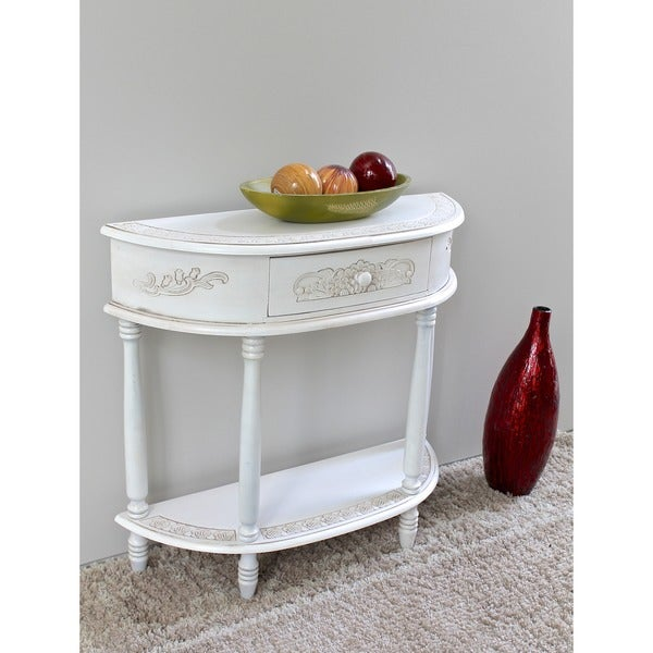 International Caravan Windsor Antique White Carved Wood Half Moon Wall Table    Free Shipping Today   Overstock.com   14754604
