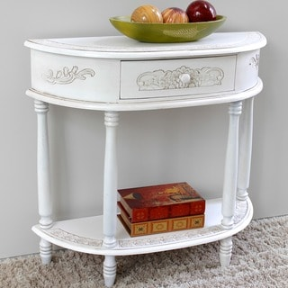 International Caravan Windsor Antique White Carved Wood Half Moon Wall Table