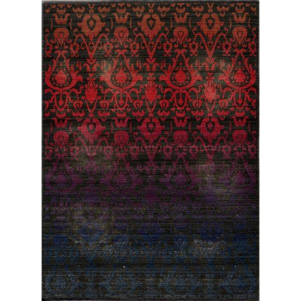 "Vintage Ikat Fire Multi New Zealand Wool Rug (1'8"" x 2'8"")"