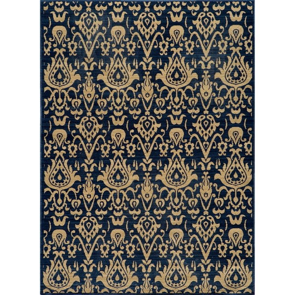 Vintage Ikat Chic Navy New Zealand Wool Rug (3'11 x 5'11)