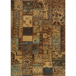 "Vintage Silas Patchwork Light Blue/Brown New Zealand Wool Rug (3'11"" x 5'11"")"