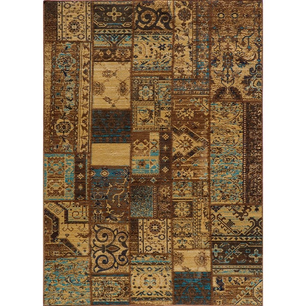 """Vintage Silas Patchwork Light Blue/Brown New Zealand Wool Rug  (7'10"""" x 9'10"""")"""