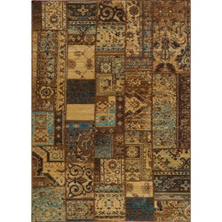 "Vintage Silas Patchwork Light Blue/Brown New Zealand Wool Rug (7'10"" x 9'10"")"