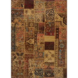 """Vintage Silas Patchwork Gold/Raspberry New Zealand Wool Rug (5'3"""" x 7'9"""")"""