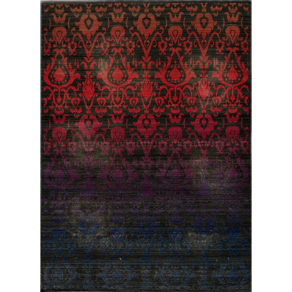 "Vintage Ikat Fire Multi New Zealand Wool Rug (5'3"" x 7'9"")"