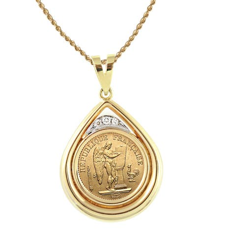 American Coin Treasures 14k Gold French 20 Franc Lucky Angel Gold Piece Coin and Diamond Teardrop Pe