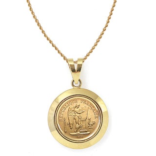 American Coin Treasures 14k Gold French 20 Franc Lucky Angel Gold Piece Coin Dome Bezel Pendant Neck