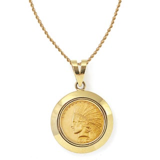 American Coin Treasures 14k Gold $10 Indian Head Gold Piece Eagle Coin Dome Bezel Pendant Necklace